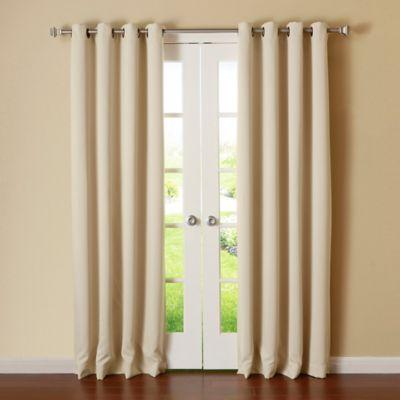basic solid 63inch grommet window curtain panel pair in beige