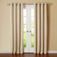 Decorinnovation Basic Solid 63-Inch Room-Darkening Grommet Window Curtain Panel Pair in Beige