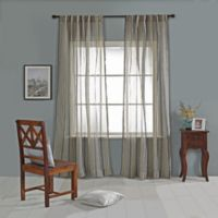 India's Heritage Linen Stripe Sheer 108-Inch Rod Pocket Window Curtain Panel in Natural/Navy