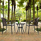 Crosley Palm Harbor 3-Piece Wicker Patio Bistro Set in Brown
