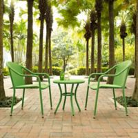 Crosley Palm Harbor 3-Piece Wicker Patio Bistro Set in Green