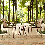 Crosley Palm Harbor 3-Piece Wicker Patio Bistro Set in Light Brown