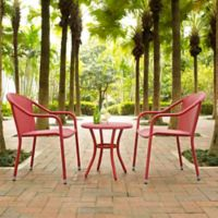 Crosley Palm Harbor 3-Piece Wicker Patio Bistro Set in Red