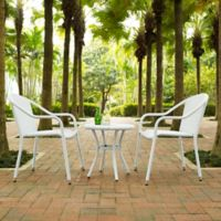 Crosley Palm Harbor 3-Piece Wicker Patio Bistro Set in White