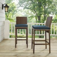 Crosley Bradenton Wicker Bar Stools in Navy (Set of 2)