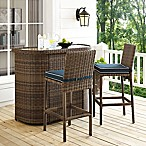 Crosley Bradenton 3-Piece Wicker Bar Set in Navy
