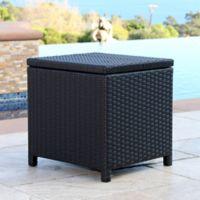 Abbyson Living® Carlsbad Outdoor Wicker Storage Ottoman in Black