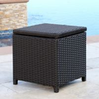 Abbyson Living® Carlsbad Outdoor Wicker Storage Ottoman in Brown
