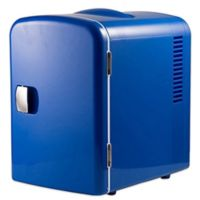 Gourmia Portable 6-Can Mini Fridge Cooler and Warmer in Blue