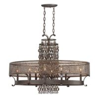Ajourer 8-Light Ceiling Oval Chandelier in Bronze with Brass Shade