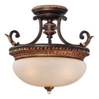 Metropolitan Home Bella Cristallo 3-Light Semi-Flush Mount Ceiling Fixture in French Bronze