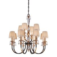 Metropolitan Home Bella Cristallo 12-Light Chandelier in French Bronze