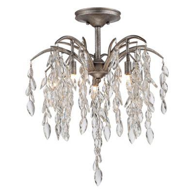 Metropolitan bella flora 5 light semi flush mount ceiling fixture in silver mist