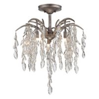 Metropolitan Bella Flora 5-Light Semi-Flush Mount Ceiling Fixture in Silver Mist