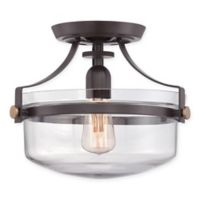 Quoizel® Uptown Penn Small Semi-Flush Mount Ceiling Fixture in Western Bronze