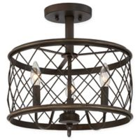 Quoizel® Dury Small 3-Light Semi-Flush Mount Ceiling Fixture in Palladian Bronze