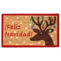 30-Inch x 18-Inch Feliz Navidad Coir Reindeer Doormat