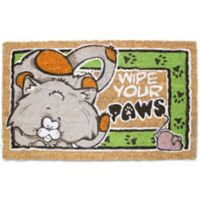 J&M Home Fashions 18-Inch x 30-Inch Wipe Your Paws Cat Door Mat