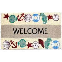 J&M Home Fashions 18-Inch x 30-Inch Seaside Welcome Door Mat