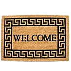 "J&M Home Fashions 19.5-Inch x 29.5-Inch Greek Key ""Welcome"" Door Mat in Brown"