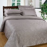Maspar 300-Thread-Count Embroidered King Duvet Cover Set in Grey
