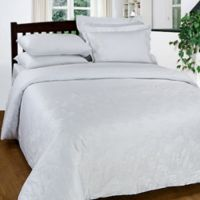 Maspar 300-Thread-Count Embroidered King Duvet Cover Set in White