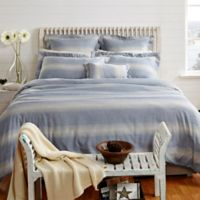 Maspar Rhythmic Stripe Reversible Queen Duvet Cover Set in Blue/Grey