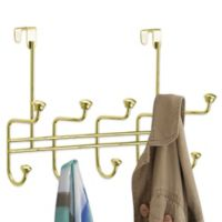 InterDesign® RealWood 10 Hook Over-the-Door Rack in Brass