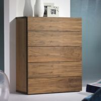 Tema Furniture Inc. Float Wooden 5-Drawer Chest in Walnut