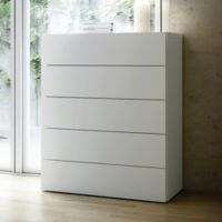 Tema Furniture Inc. Float Wooden 5-Drawer Chest in White