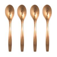Gourmet Settings Café Rose Gold Matte Finish 4-Piece Espresso Spoon