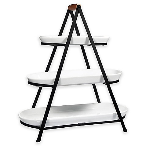 3 Tier Oblong Ceramic Server In White Bed Bath Amp Beyond