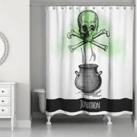Skull and Cross Bones Shower Curtain in Black/White