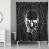 Webbed Skull Shower Curtain in Black/White