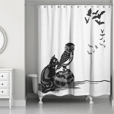 Halloween Friends Shower Curtain In Black White