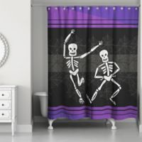 Dance Skeleton Shower Curtain in Purple/Black