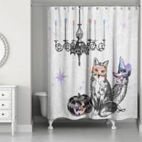 Watercolored Festive Animals Shower Curtain in White/Black