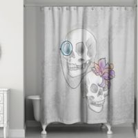 Skelton Ritz Shower Curtain In Grey White