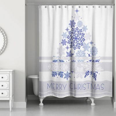 Awesome Elegant Blue Christmas Shower Curtain In White/Blue