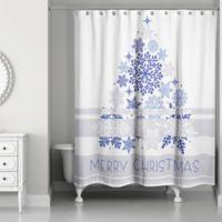 Elegant Blue Christmas Shower Curtain In White