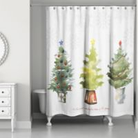 Most Wonderful Time Shower Curtain In White Green
