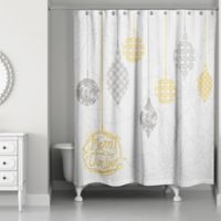 Ornaments Shower Curtain in White/Gold
