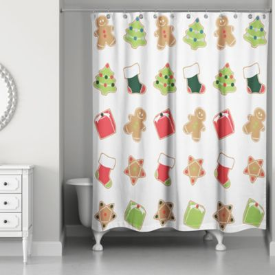 Christmas Cookies Shower Curtain In Red Green