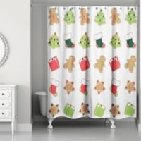 Christmas Cookies Shower Curtain in Red/Green