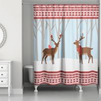 Winter Deer Shower Curtain in Red/Blue