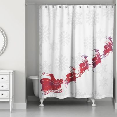 Santas Sleigh Shower Curtain In Red White