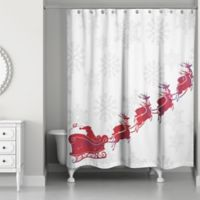 Santa's Sleigh Shower Curtain in Red/White
