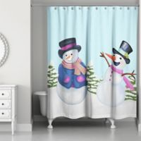 Snowman Friends Shower Curtain in Blue/White