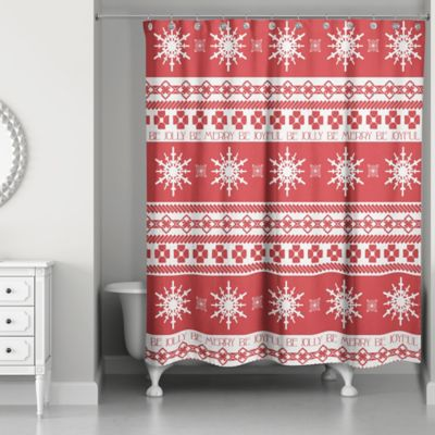 Holly Jolly Patterns Shower Curtain In Red/White