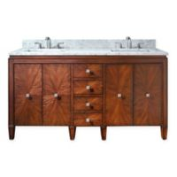 Avanity Brentwood 61-Inch Double Vanity in New Walnut with Carrera Marble White Top
